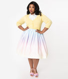 Plus Size 1950s Style Pastel Rainbow Ombre Swing Skirt