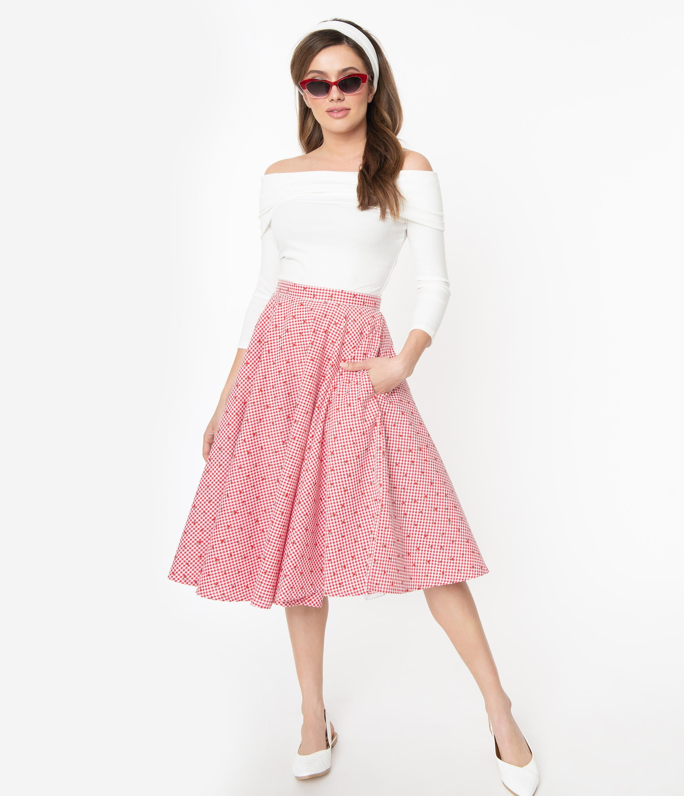 Retro Skirts | Vintage, Pencil, Circle, & Plus Sizes 1950S Red  White Gingham Cherry Print Swing Skirt $58.00 AT vintagedancer.com