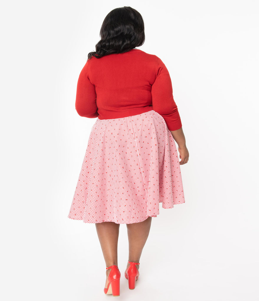 Plus Size 1950s Red & White Gingham Cherry Print Swing Skirt