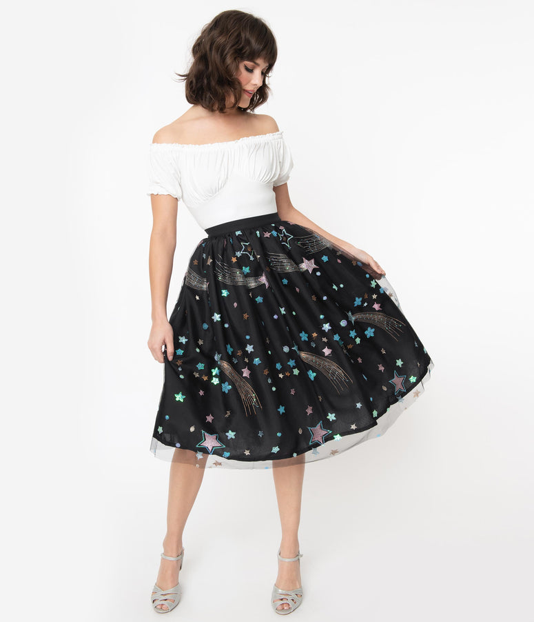 Black & Multi Shooting Stars Tulle Swing Skirt