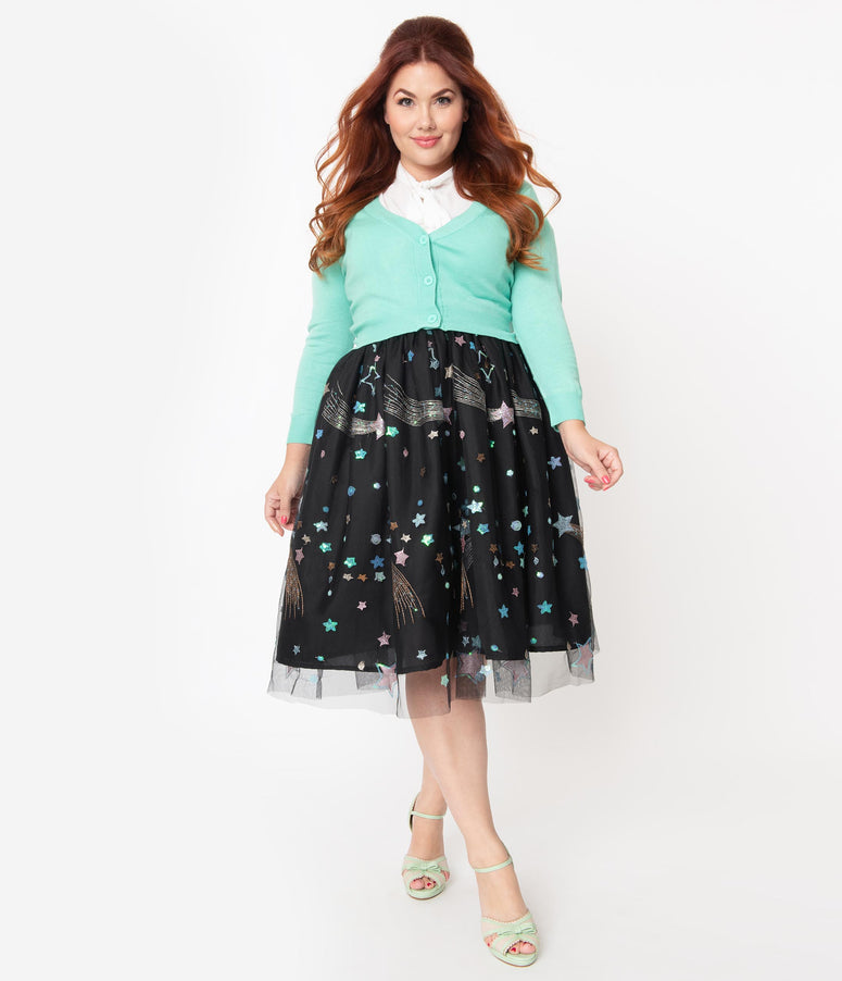 Plus Size Black & Multi Shooting Stars Tulle Swing Skirt