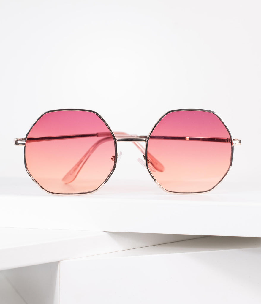 Pink & Gold Geometric Mod Friendly Sunglasses