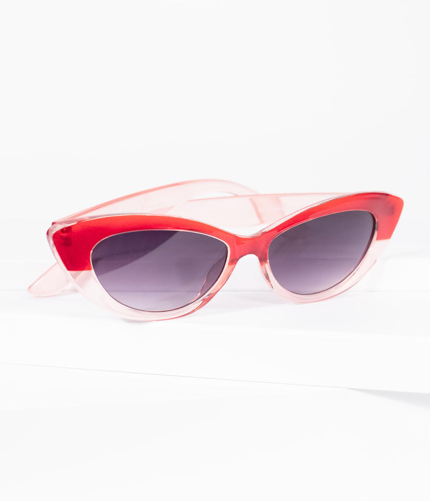 Vintage Style Red & Crystal Cat Eye Tasty Sunglasses