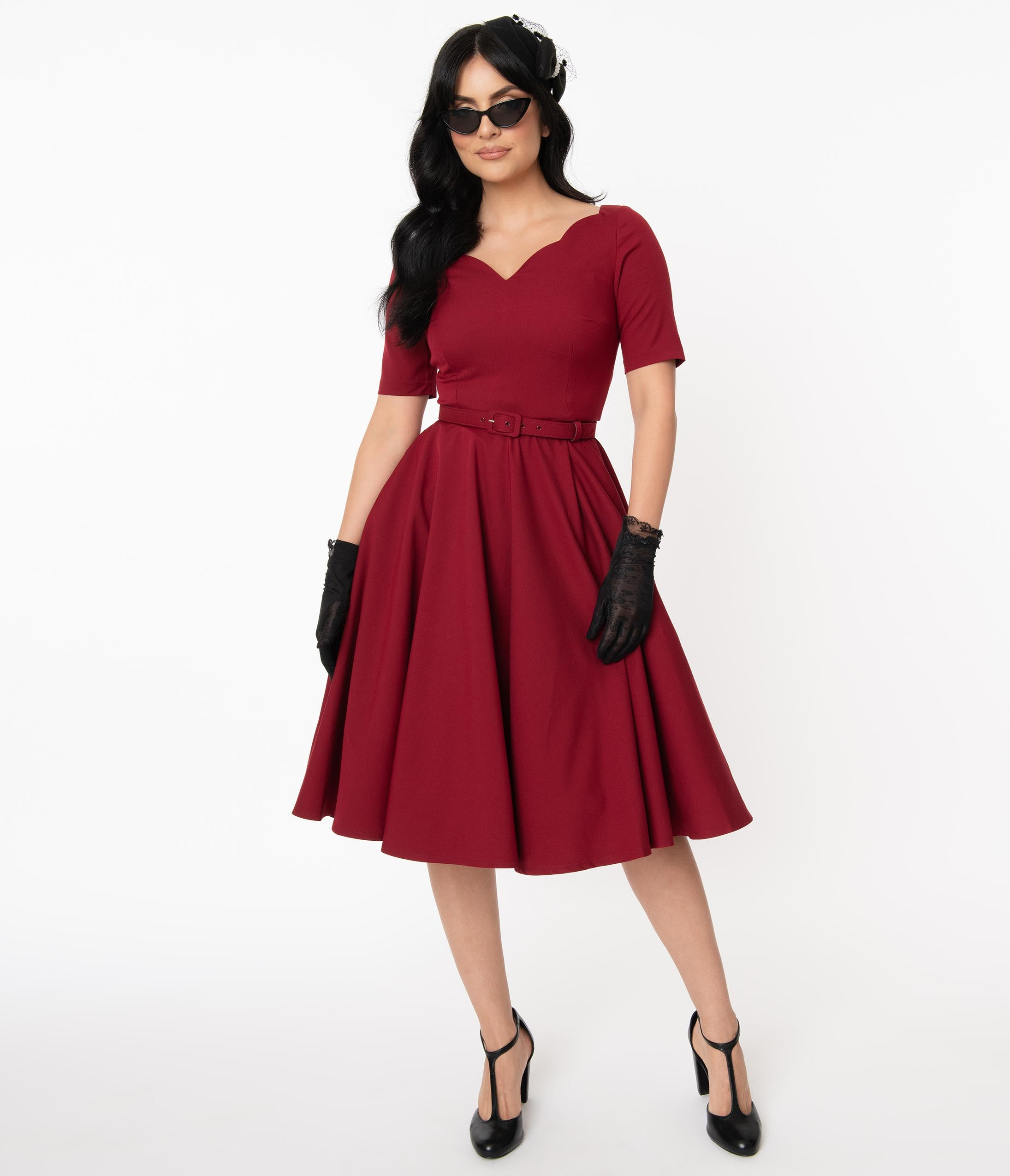 Pin Up Girl Costumes | Pin Up Costumes Vintage Diva 1950S Bordeaux Red Beth Swing Dress $145.00 AT vintagedancer.com