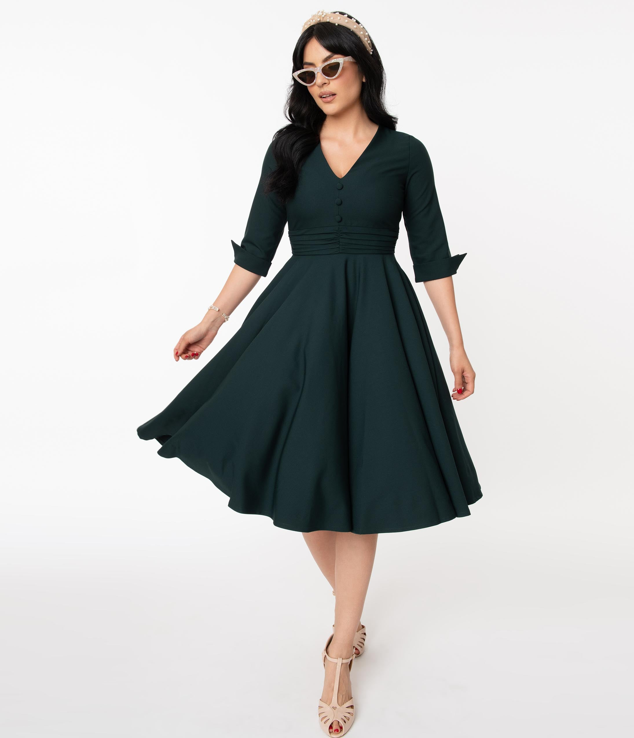 1950s Dresses, 50s Dresses | 1950s Style Dresses Vintage Diva 1950S Dark Emerald Judy Swing Dress $160.00 AT vintagedancer.com