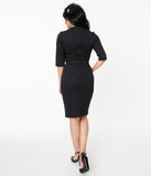 Vintage Diva 1940s Black Pinstripe Lina Pencil Dress