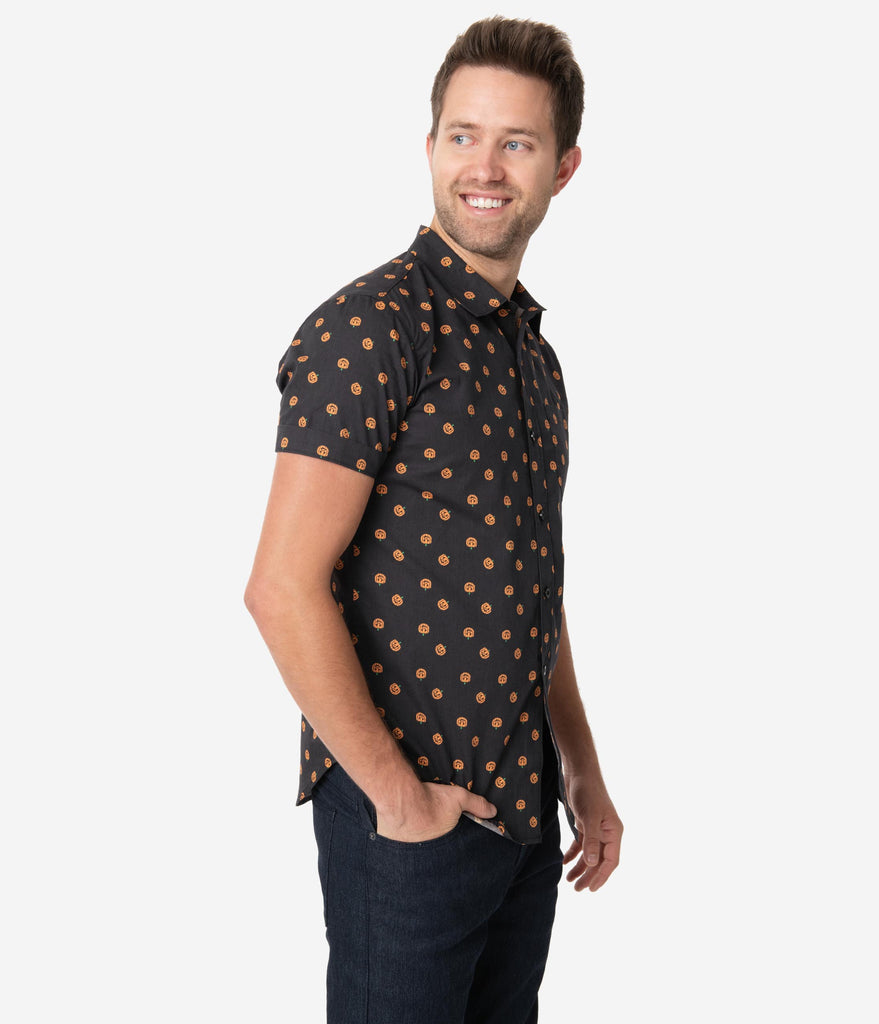 Unique Vintage Black & Orange Pumpkin Patch Mens Shirt