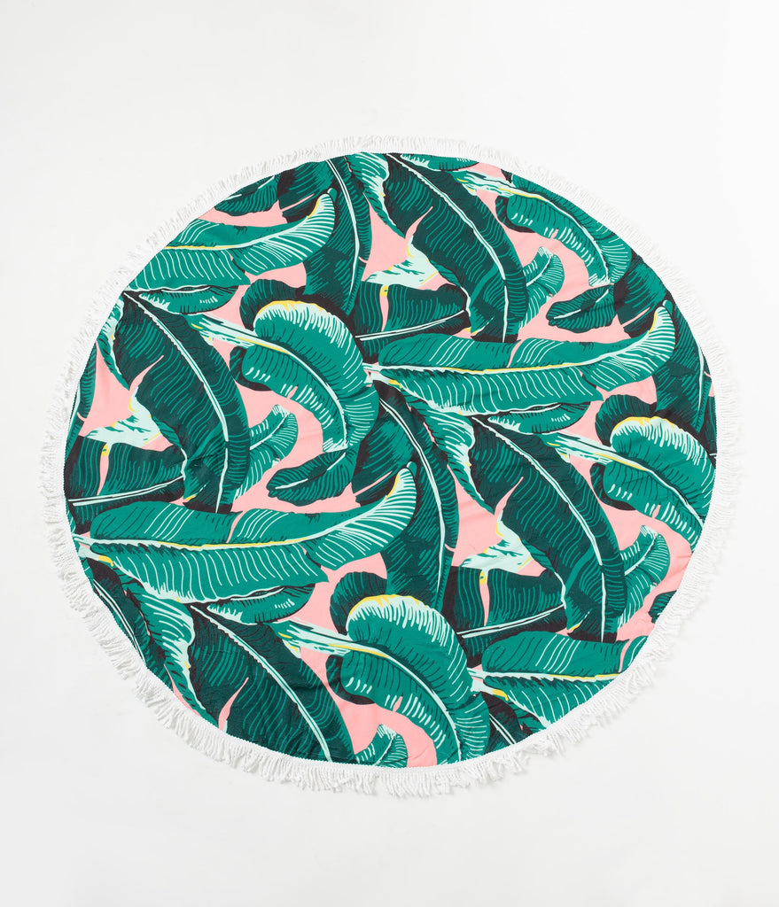 Green Palm Print Fringed Round Beach Towel