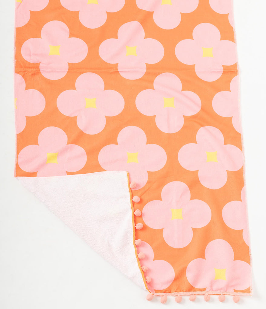 Orange & Pink Vintage Floral Beach Towel