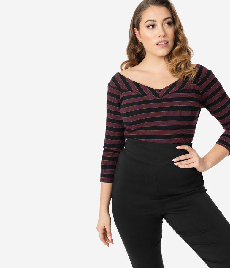 Unique Vintage Wine & Black Stripe Scarlett Top