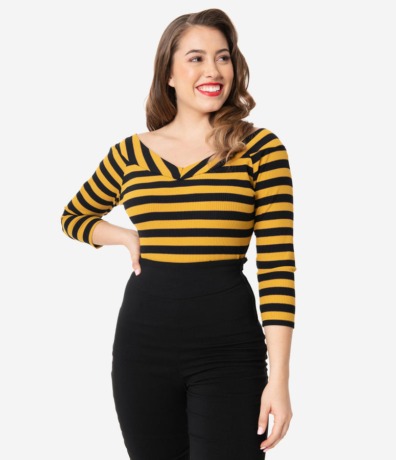 Unique Vintage Black & Mustard Stripe Scarlett Top