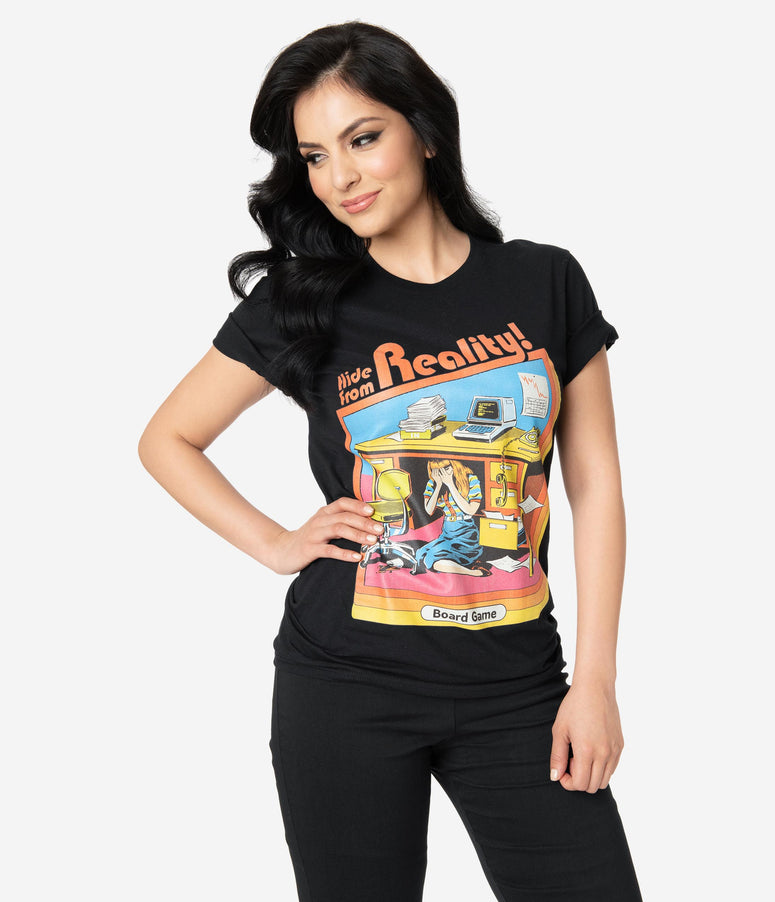Retro Style Black Hide From Reality Unisex Tee