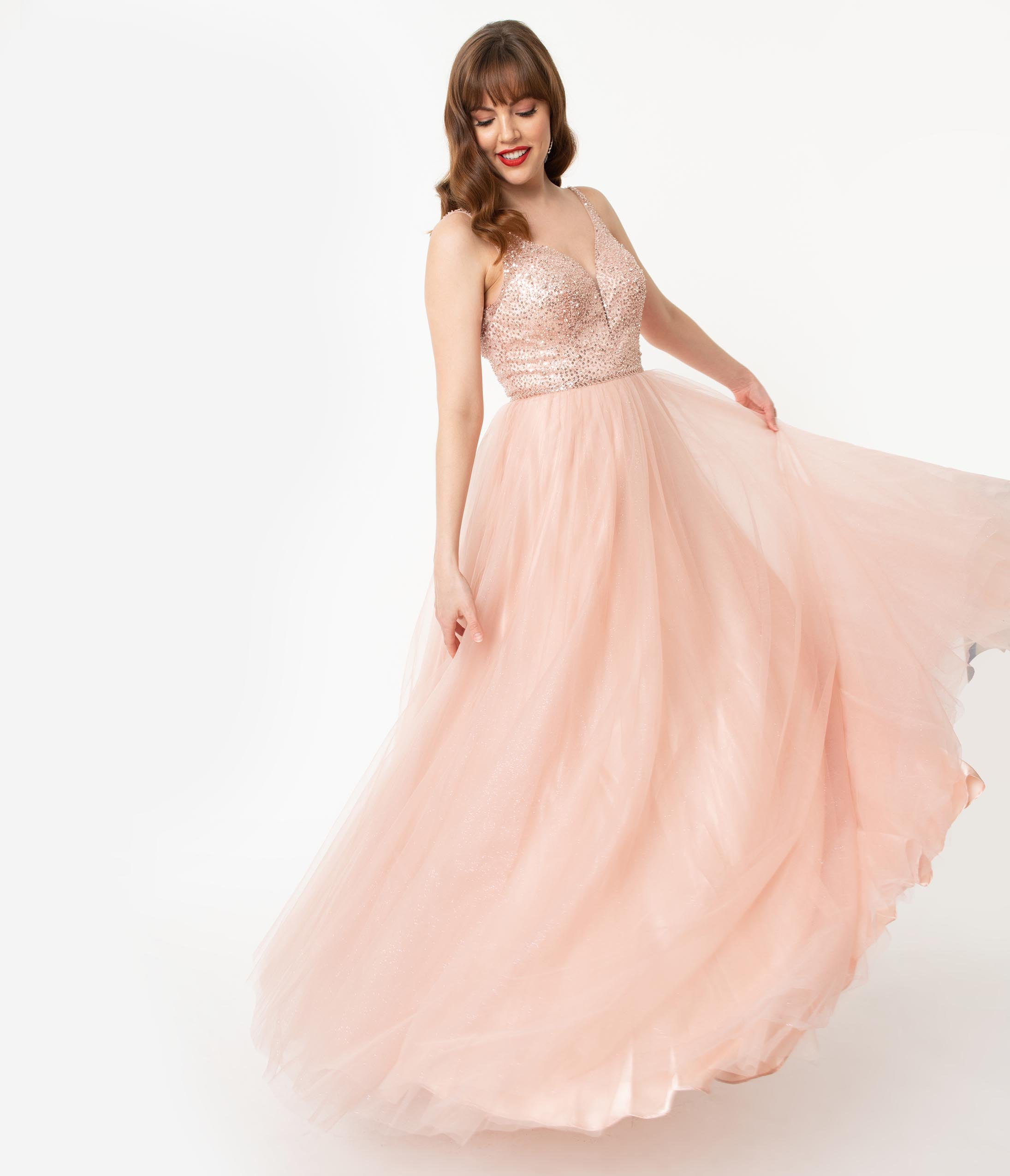 1950s Formal Dresses & Evening Gowns to Buy Blush Pink Glitter  Beaded Long Gown $180.00 AT vintagedancer.com