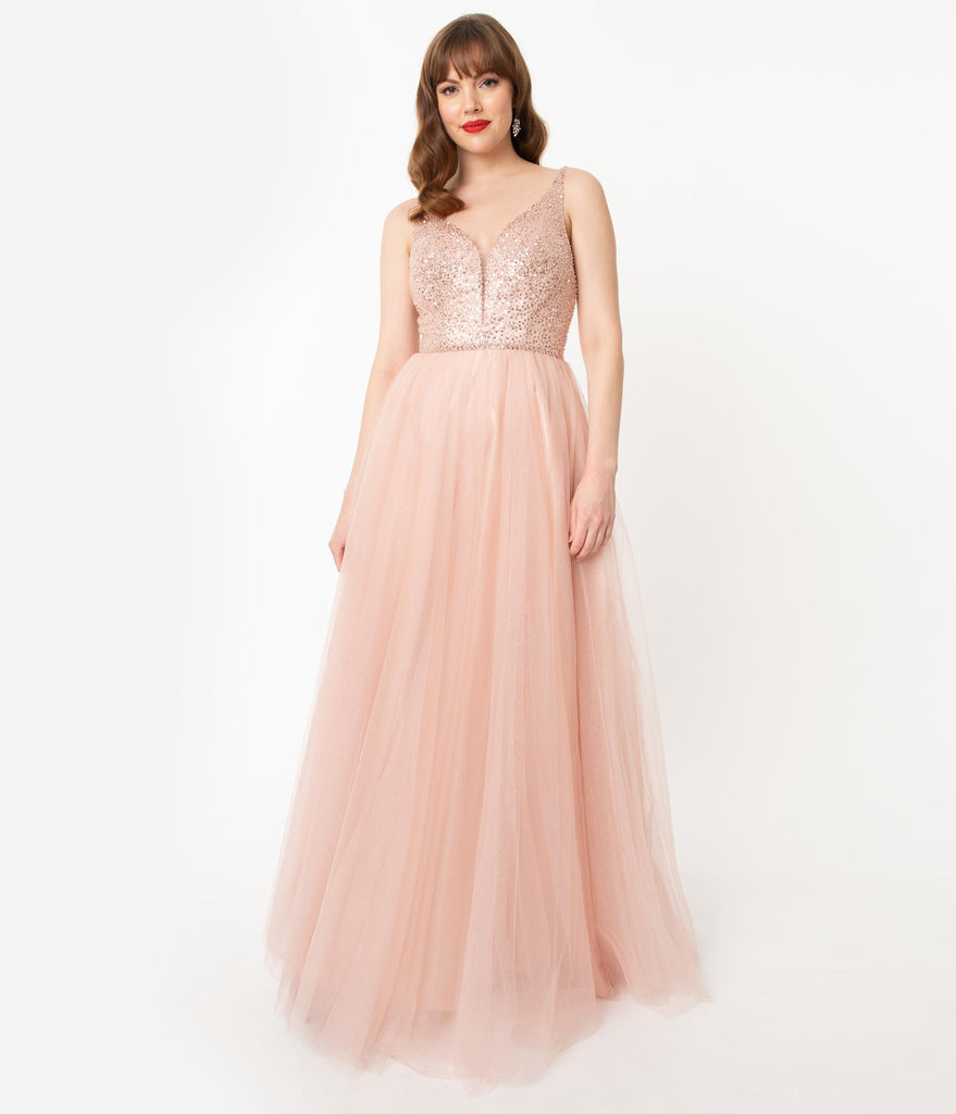 Blush Pink Glitter & Beaded Long Gown