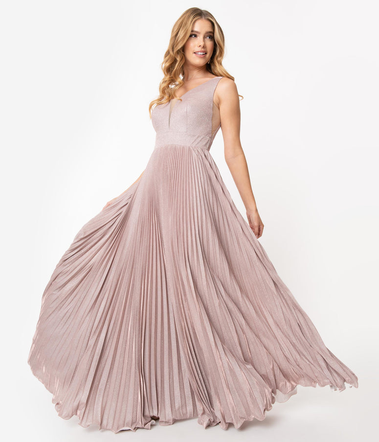 Blush Pink Metallic Pleated Long Gown