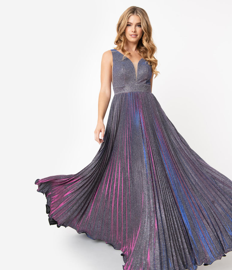 Purple Iridescent Metallic Pleated Long Gown