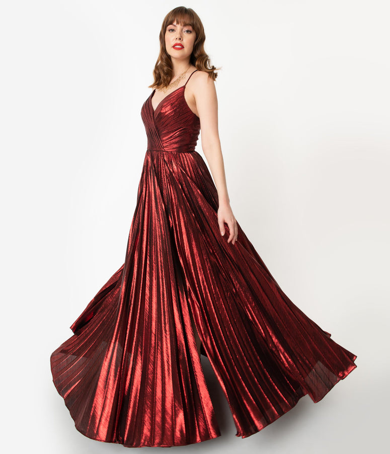 Burgundy Sparkle Pleated Sexy Long Dress