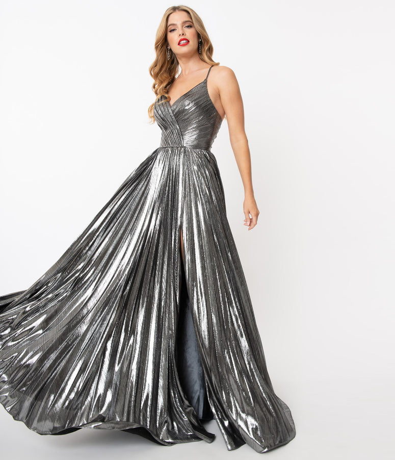 Charcoal Silver Sparkle Pleated Sexy Long Dress