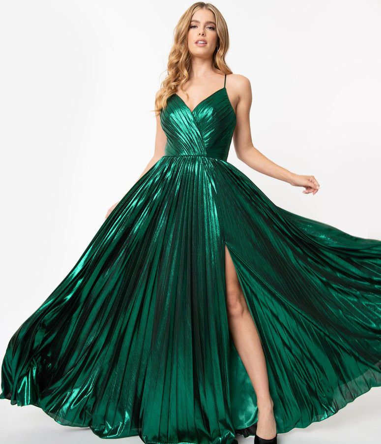 Emerald Sparkle Pleated Sexy Long Dress
