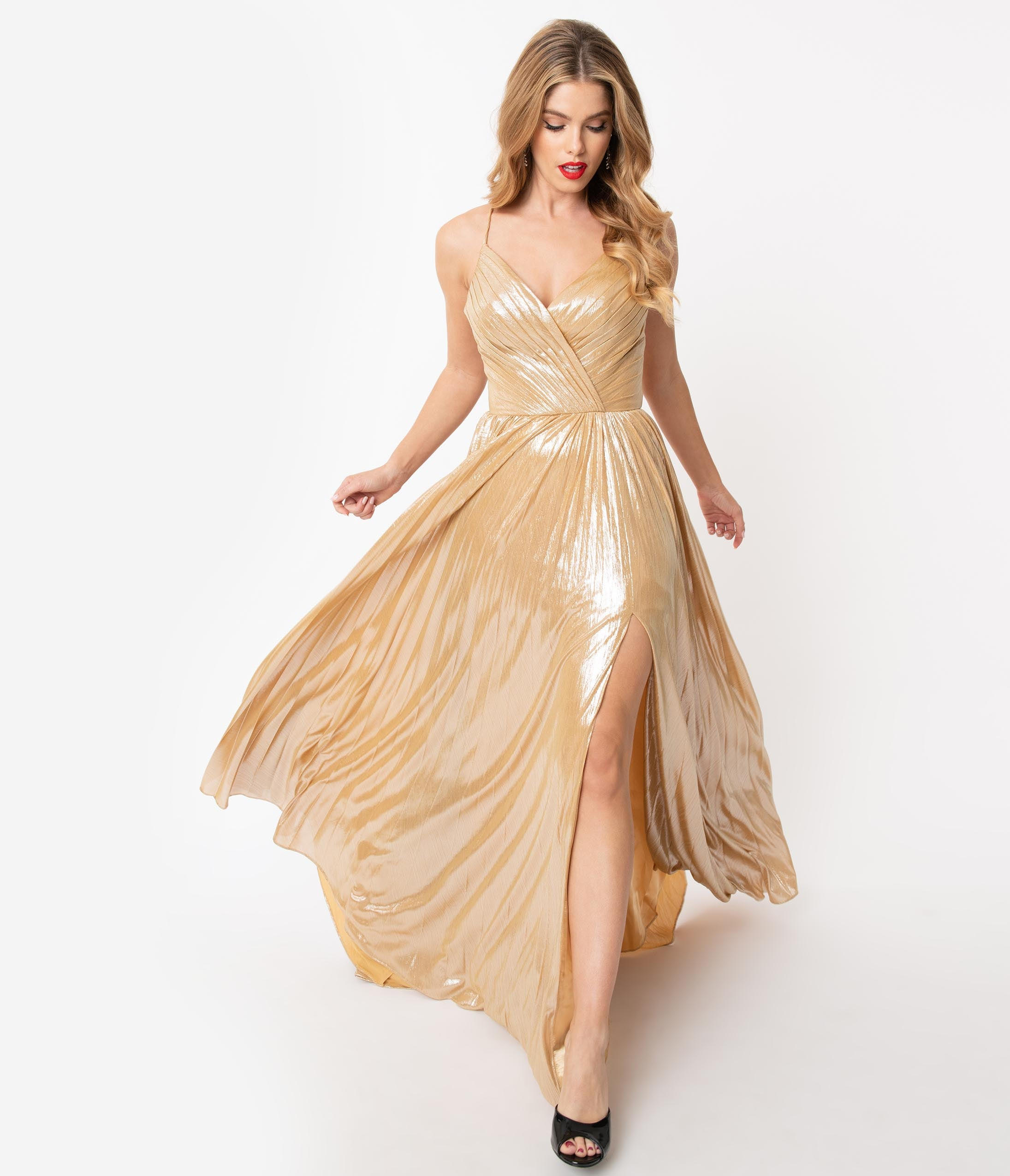 70s Prom, Formal, Evening, Party Dresses Gold Sparkle Pleated Sexy Long Dress $210.00 AT vintagedancer.com