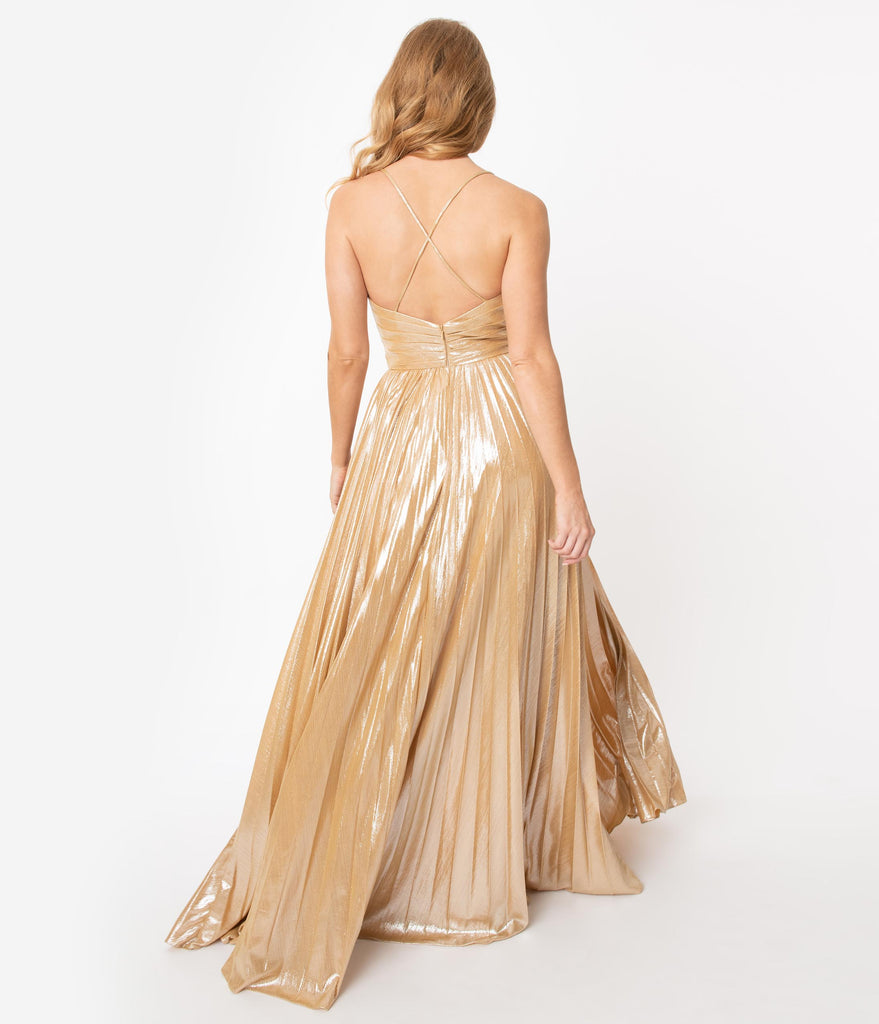 Gold Sparkle Pleated Sexy Long Dress