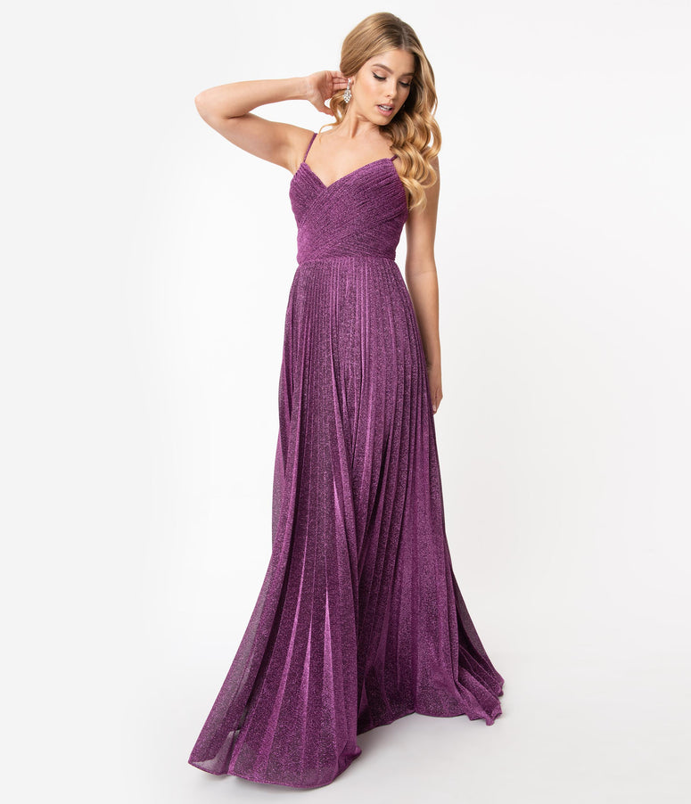 Eggplant Sparkle Pleated Long Evening Dress