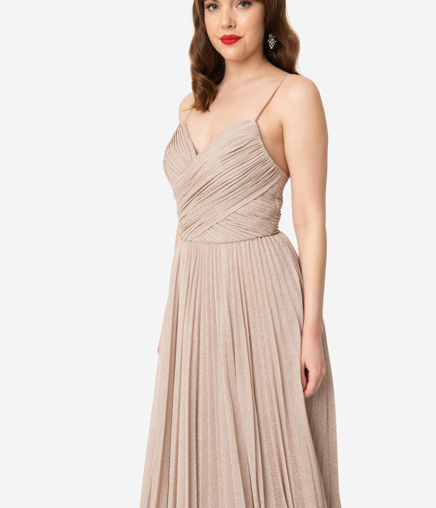 Mauve Sparkle Pleated Long Evening Dress