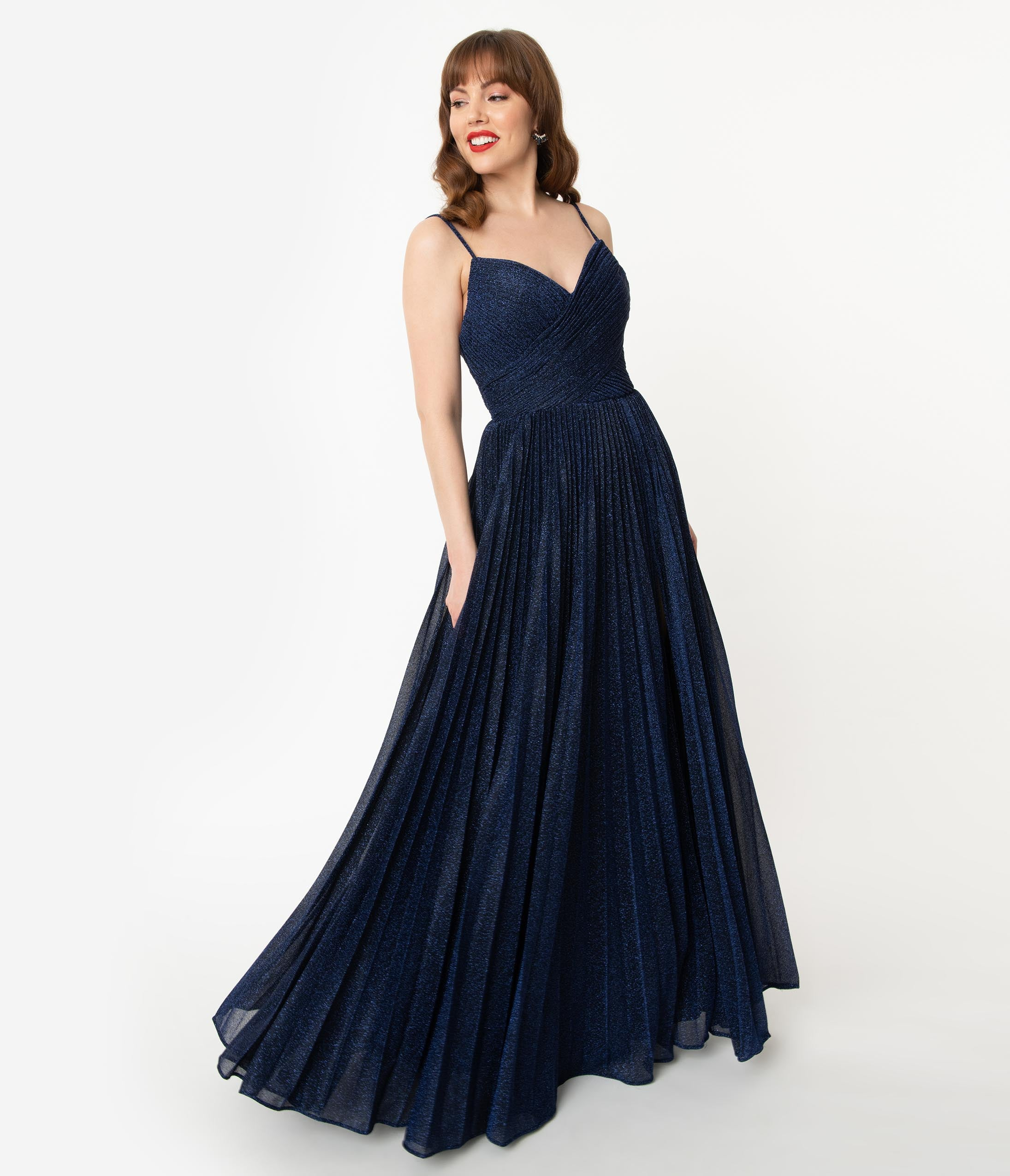 1930s Evening Dresses | Old Hollywood Silver Screen Dresses Navy Blue Sparkle Pleated Long Evening Dress $150.00 AT vintagedancer.com