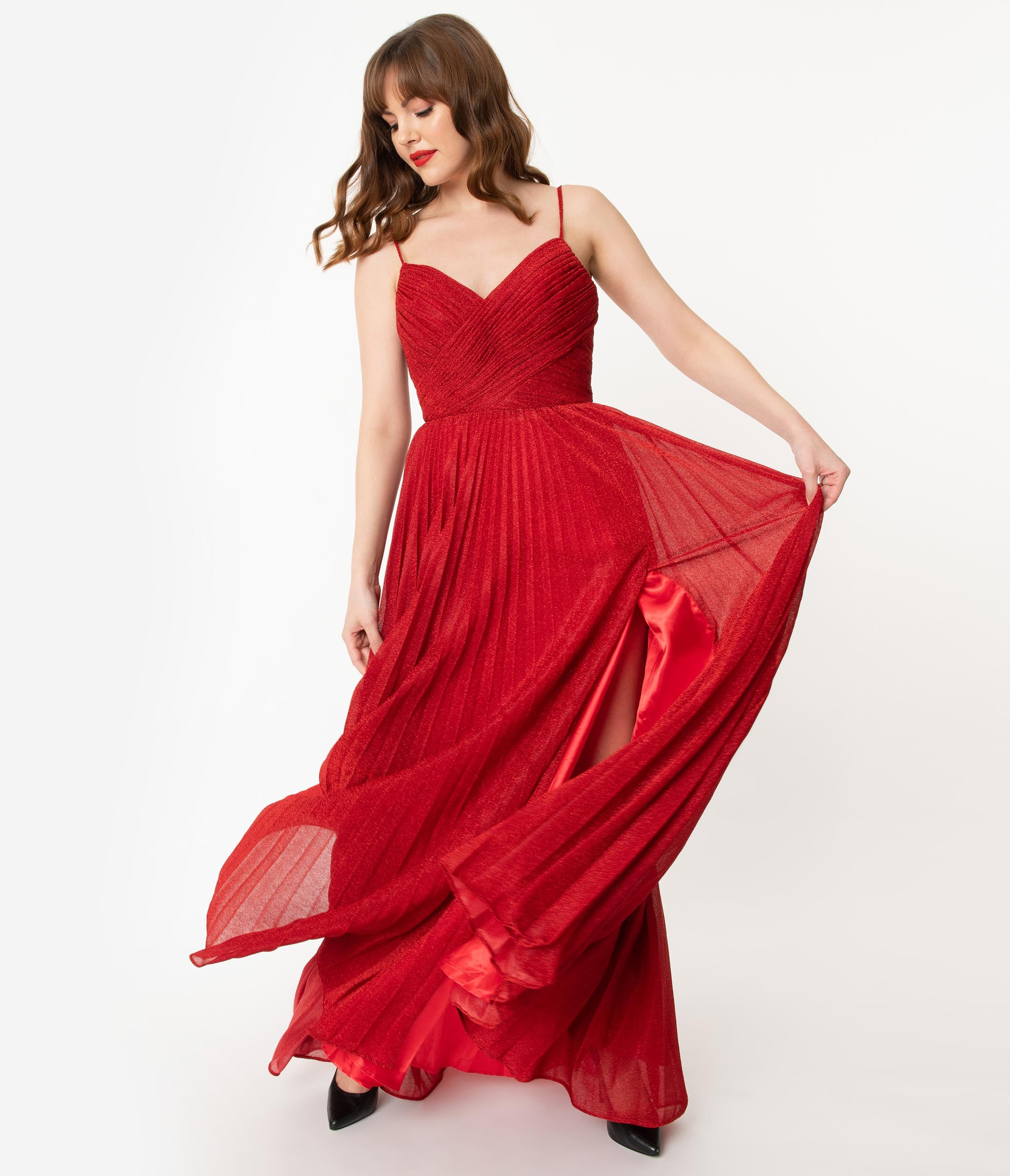 1930s Evening Dresses | Old Hollywood Silver Screen Dresses Red Sparkle Pleated Long Evening Dress $150.00 AT vintagedancer.com