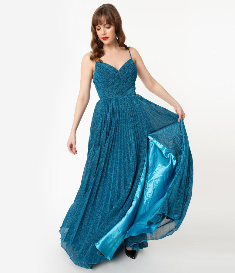 Teal Blue Sparkle Pleated Long Evening Dress