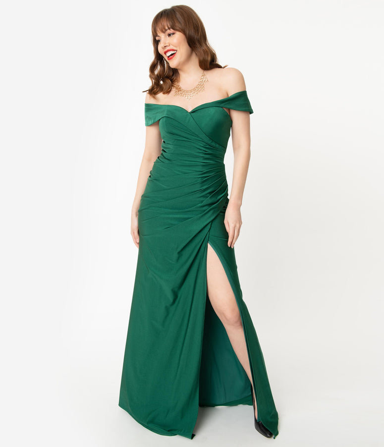 Emerald Green Off Shoulder Fitted Long Dress