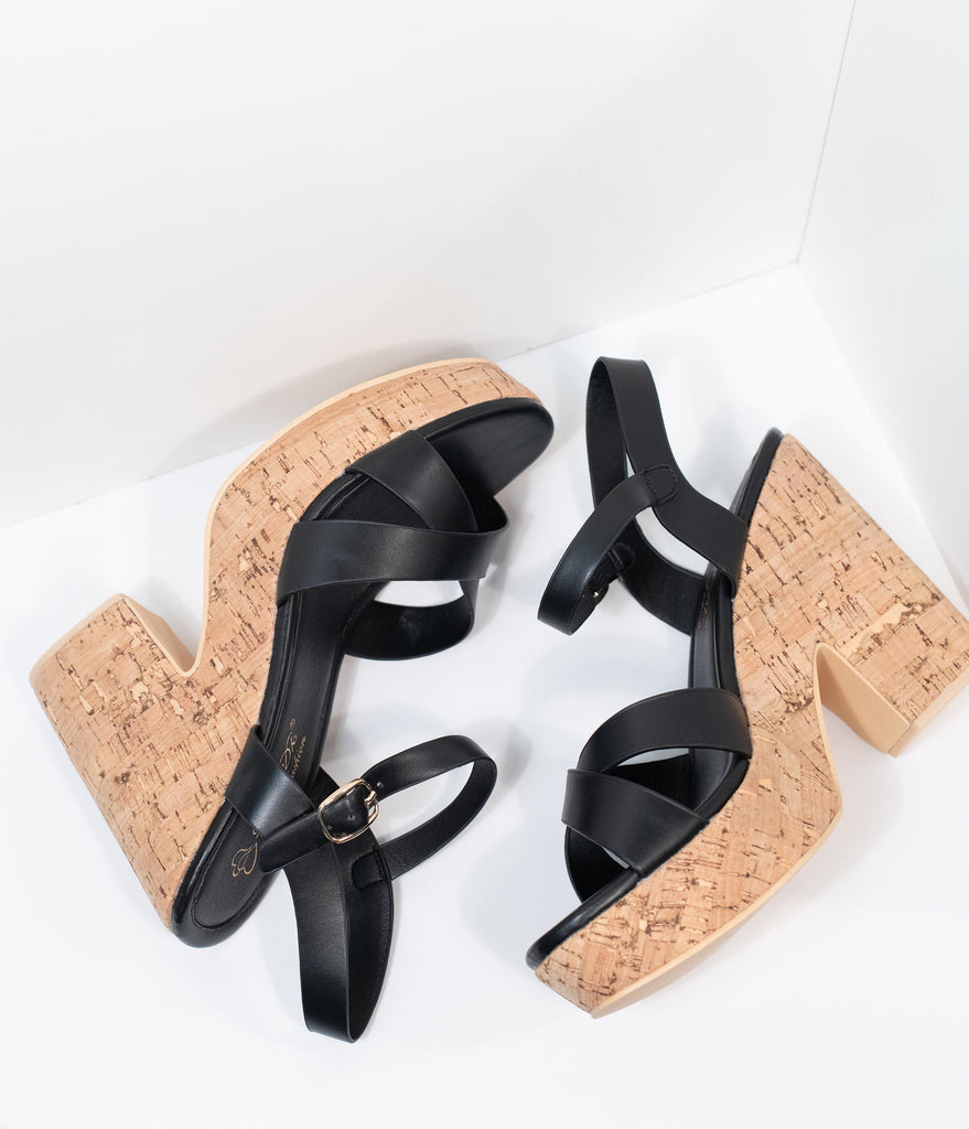 Black Leatherette & Cork Stacked Platform Heels