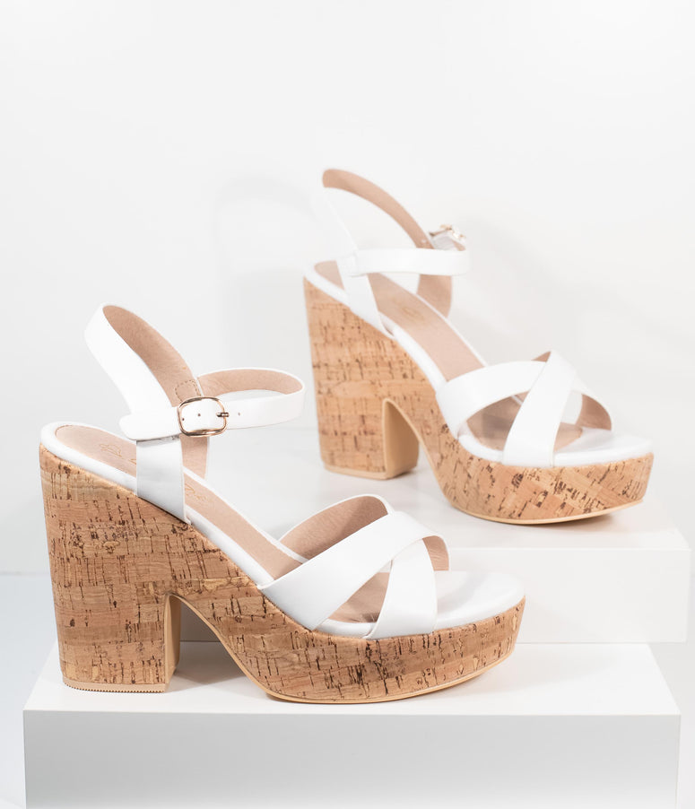 White Leatherette & Cork Stacked Platform Heels