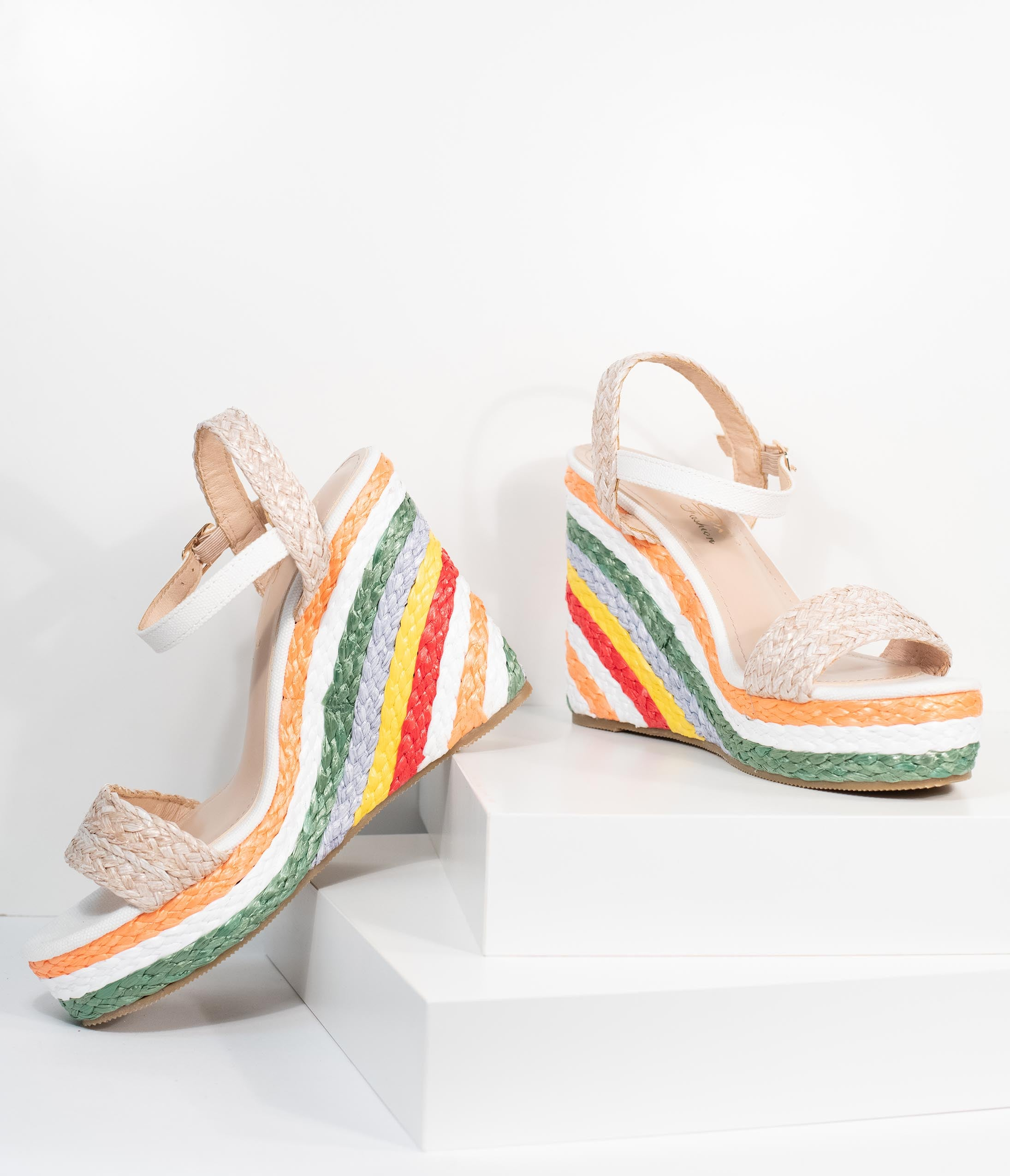 60s Shoes, Boots Rainbow Striped Straw Wedges $58.00 AT vintagedancer.com