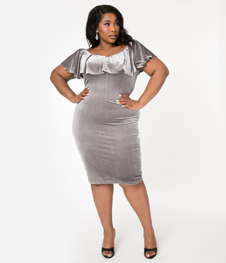 Unique Vintage Plus Size Grey Silver Corduroy Velvet Sophia Wiggle Dress