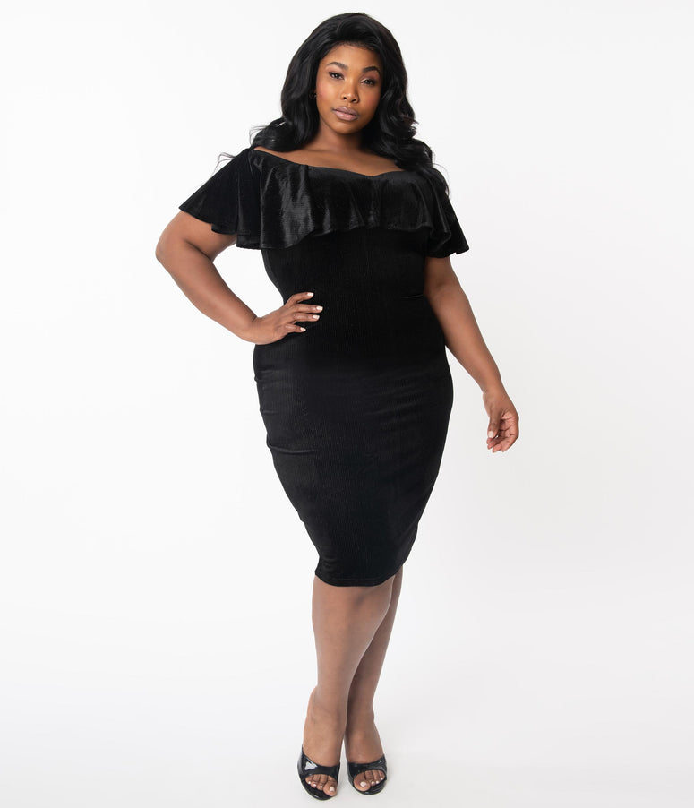 Unique Vintage Plus Size Black & Silver Corduroy Velvet Sophia Wiggle Dress