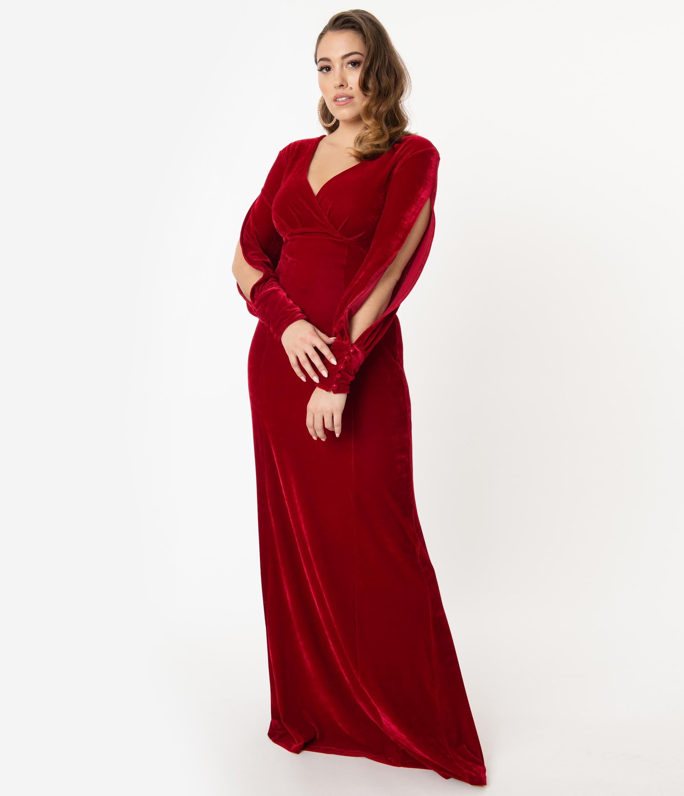1950s History of Prom, Party, and Formal Dresses Unique Vintage Burgundy Velvet Sharon Maxi Dress $98.00 AT vintagedancer.com