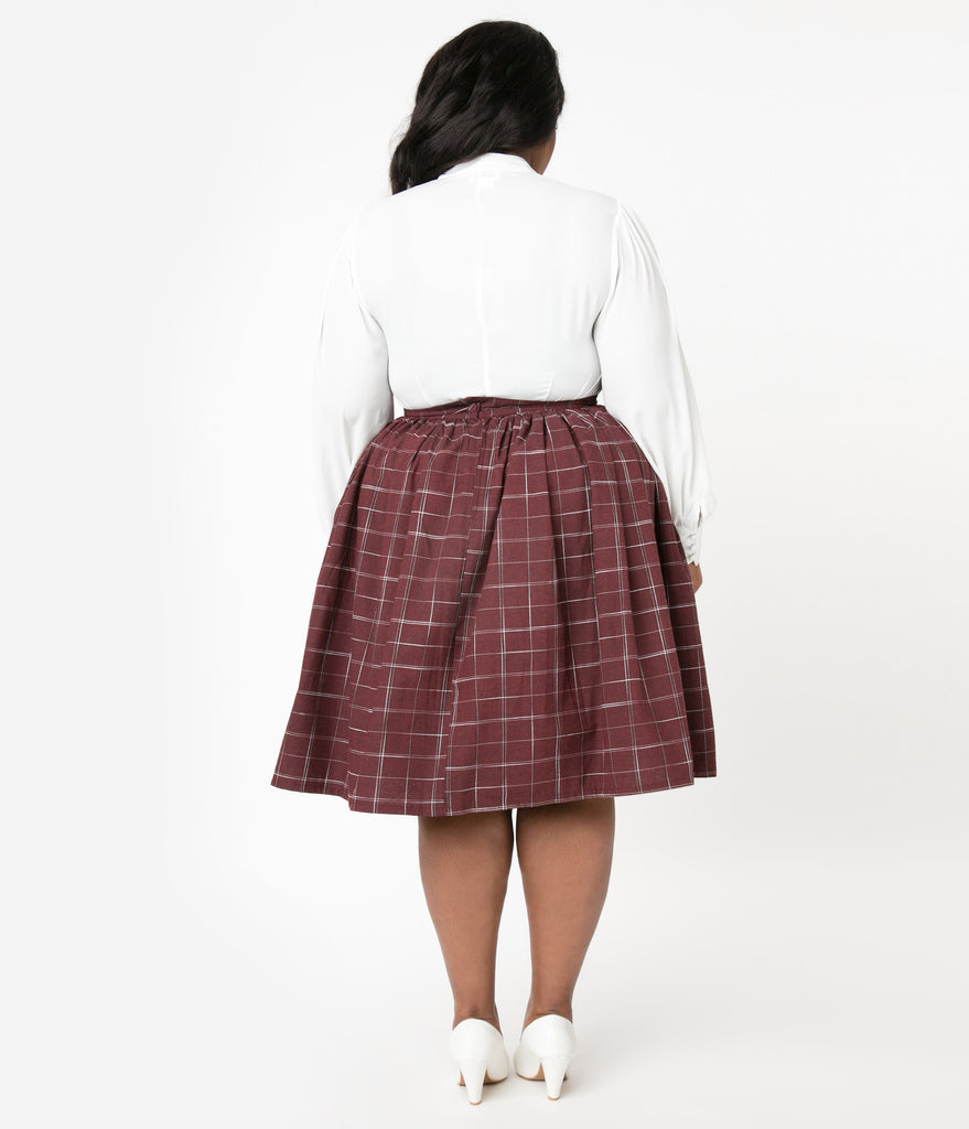 Unique Vintage Plus Size 1950s Burgundy Plaid Circle Swing Skirt