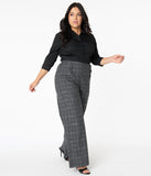 Unique Vintage Plus Size Grey Plaid High Waist Rogers Pants
