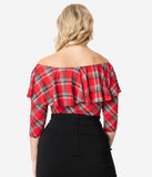 Unique Vintage Red Plaid Off Shoulder Ruffle Bisou Top