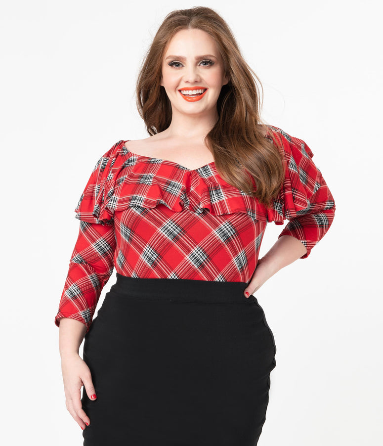 Unique Vintage Plus Size Red Plaid Off Shoulder Ruffle Bisou Top