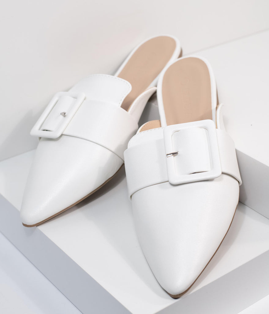 Ivory Leatherette Buckle Mule Flats