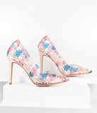 Clear Floral Vinyl High Heel Pumps