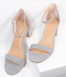 Dark Navy & White Stripe Textile Heel Sandals