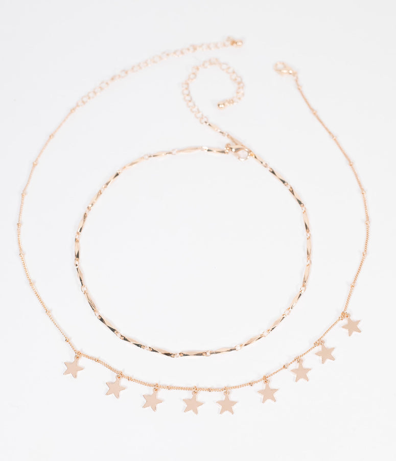 Golden Star Chain Necklace Set