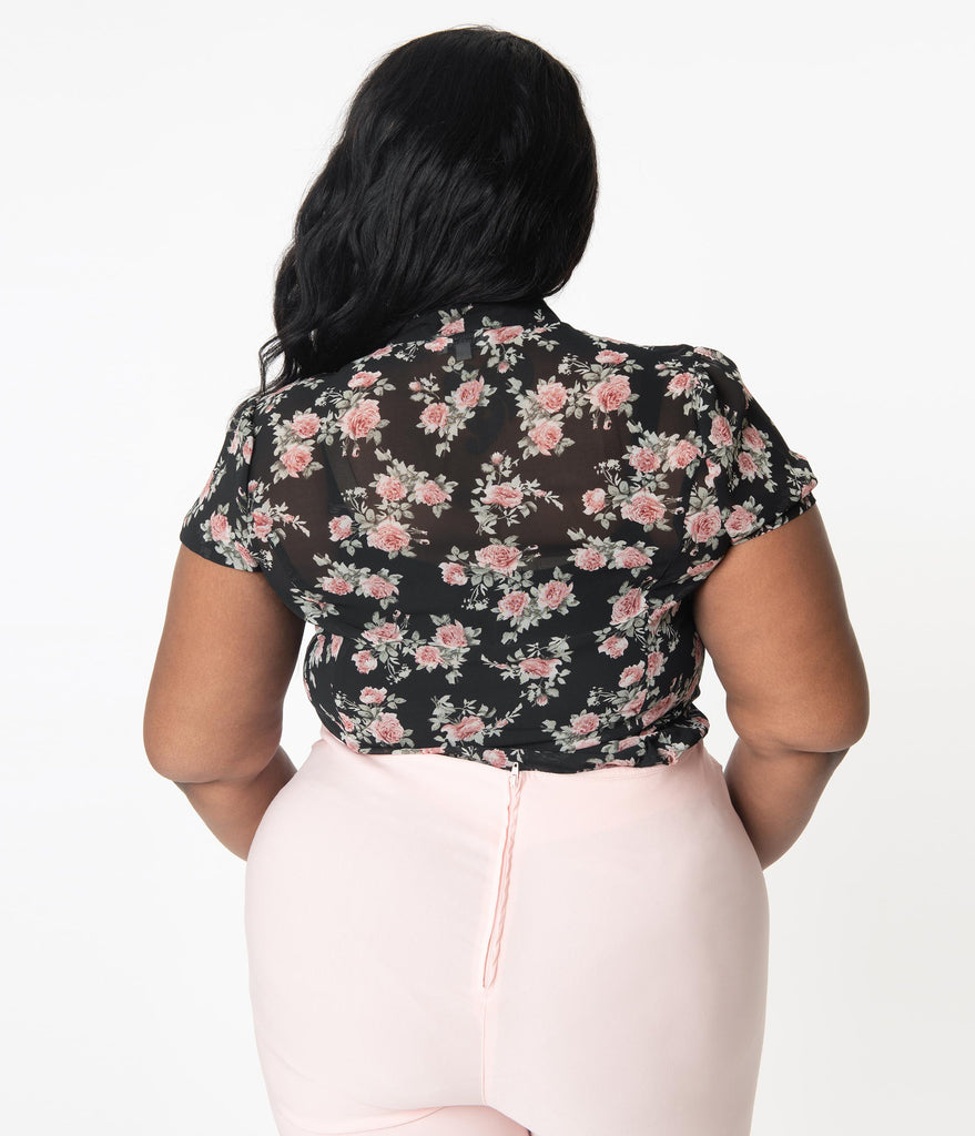 Unique Vintage Plus Size 1940s Black & Pink Floral Elsie Blouse