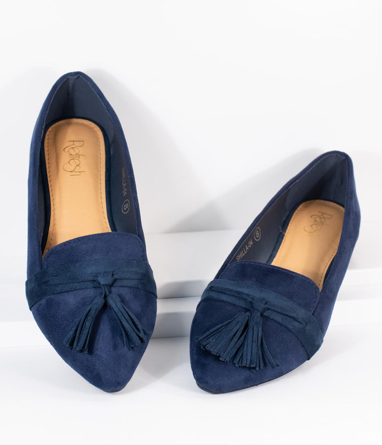 Dark Navy Blue Suede Tassel Loafer