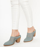 Light Blue Braided Woven Heel Mules