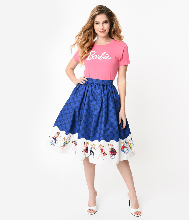 Barbie x Unique Vintage Blue My Barbie Collection Swing Skirt