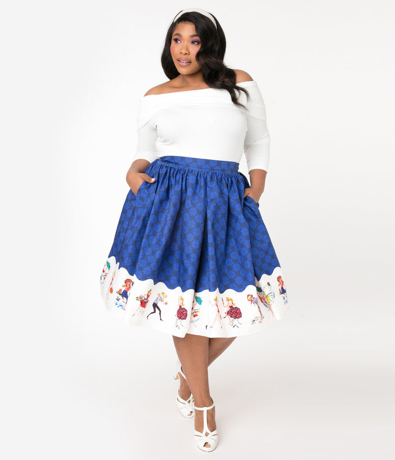 Barbie x Unique Vintage Plus Size Blue My Barbie Collection Swing Skirt